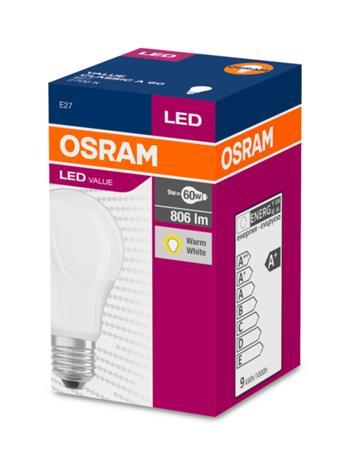 OSRAM LED VALUE ClasA 230V 8,5W 827 E27 noDIM A+ Plast matný 806lm 2700K 10000h (krabička 1ks)