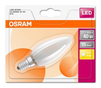OSRAM LED STAR ClasB 230V 4,5W 827 E14 noDIM A++ Sklo matné 470lm 2700K 15000h (blistr 1ks)