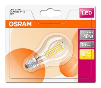OSRAM LED Filament STAR ClasP 230V 4,5W 827 E27 noDIM A++ Sklo čiré 470lm 2700K 15000h (blistr 1ks)