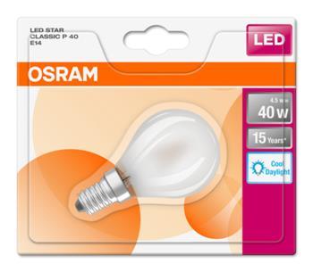 OSRAM LED STAR ClasP 230V 4,5W 865 E14 noDIM A++ Sklo matné 470lm 6500K 15000h (blistr 1ks)