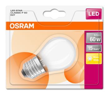 OSRAM LED STAR ClasP 230V 6W 827 E27 noDIM A++ Sklo matné 806lm 2700K 15000h (blistr 1ks)