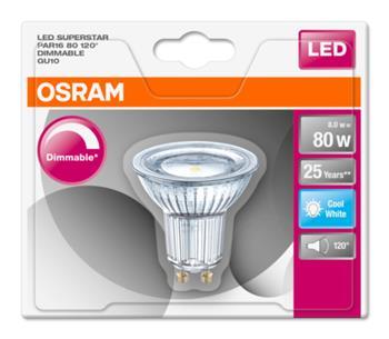 OSRAM LED SUPERSTAR PAR16 120° 230V 8W 840 GU10 DIM A+ Sklo 575lm 4000K 25000h (blistr 1ks)