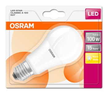 OSRAM LED STAR ClasA 230V 13W 827 E27 noDIM A+ Plast matný 1521lm 2700K 15000h (blistr 1ks)