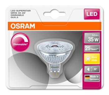 OSRAM LED SUPERSTAR MR16 36° 230V 5W 827 GU5.3 DIM A+ Sklo 350lm 2700K 25000h (blistr 1ks)