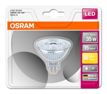 OSRAM LED STAR MR16 36° 230V 4,6W 827 GU5.3 noDIM A+ Sklo 350lm 2700K 15000h (blistr 1ks)