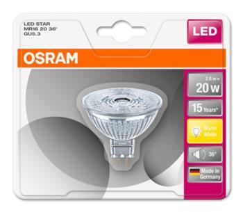 OSRAM LED STAR MR16 36° 230V 2,9W 827 GU5.3 noDIM A+ Sklo 230lm 2700K 15000h (blistr 1ks)