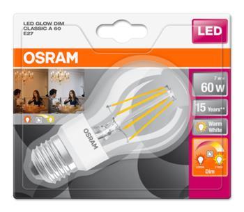 OSRAM LED Filament STAR+ ClasA 230V 7W 827 E27 noDIM A++ Sklo čiré 806lm 2700-2200K 15000h (blistr 1ks)