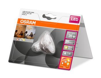 OSRAM LED STAR+ GLOW MR16 36° 230V 5,2W 827 GU5.3 noDIM A+ Sklo 350lm 2700 -1800K 25000h (blistr 1ks)