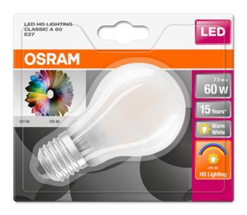 OSRAM LED STAR+ ClasA 230V 7,5W 927 E27 noDIM A+ Sklo matné 806lm 2700K 15000h (blistr 1ks)