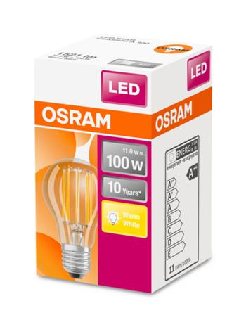 OSRAM LED Filament STAR ClasA 230V 11W 827 E27 noDIM A++ Sklo čiré 1521lm 2700K 10000h (krabička 1ks)