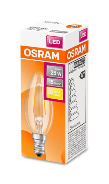 OSRAM LED Filament STAR ClasB 230V 2,5W 827 E14 noDIM A++ Sklo čiré 250lm 2700K 15000h (krabička 1ks)