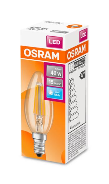 OSRAM LED Filament STAR ClasB 230V 4W 840 E14 noDIM A++ Sklo čiré 470lm 4000K 15000h (krabička 1ks)