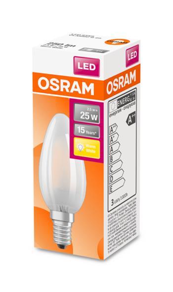 OSRAM LED STAR ClasB 230V 2,5W 827 E14 noDIM A++ Sklo matné 250lm 2700K 15000h (krabička 1ks)