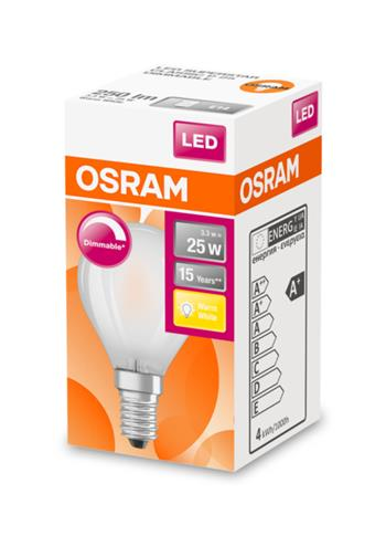 OSRAM LED SUPERSTAR ClasP 230V 3,3W 827 E14 DIM A+ Sklo matné 250lm 2700K 15000h (krabička 1ks)