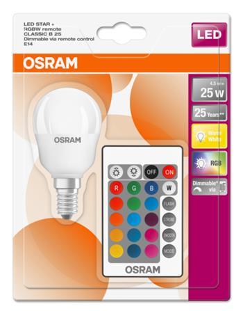 OSRAM LED STAR+ ClasP 230V 4,5W 827 E14 DIM/Remot. A Plast matný 250lm 2700K 25000h (blistr 1ks)