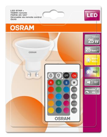 OSRAM LED STAR+ PAR16 120° 230V 4,5W 827 GU10 DIM/Remot. A Plast matný 250lm 2700K 25000h (blistr 1ks)