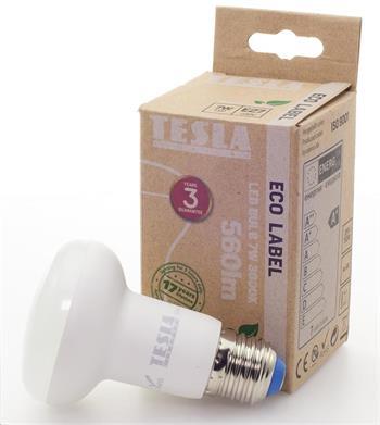 Tesla LED žárovka Reflektor R63, E27, 7W, 230V, 560lm, 30 000h, 3000K teplá bílá, 180°