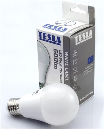 Tesla LED žárovka BULB, E27, 7W, 230V, 600lm, 25 000h, 3000K teplá bílá, 220°