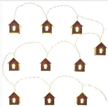 RETLUX RXL 267 vánoční dekorace 10LED, dřevěné domečky se sněhulákem, délka 2m+přívod 0.3m, 2x AA, barva teplá bílá