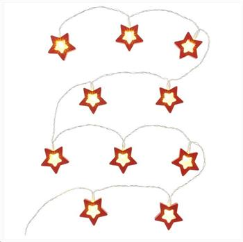 RETLUX RXL 285 vánoční dekorace 10LED, červené hvězdy, dřevo, délka 1.3m+přívod 0.3m, 2x AA, barva teplá bílá