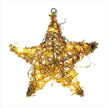 RETLUX RXL 255 vánoční dekorace 10LED, hvězda ratan, 25x25x6.5cm + přívod 0.3m, 2x AA, barva teplá bílá