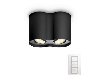 PHILIPS Pillar Dvojité bodové svítidlo, Hue White ambiance, 230V, 2x5.5W GU10, Černá