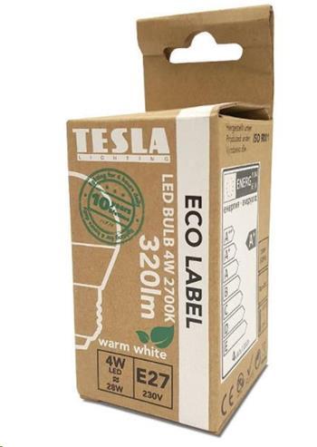 Tesla LED žárovka mini BULB E27, 4W, 230V, 320lm, 15 000h, 2700K teplá bílá, 180°