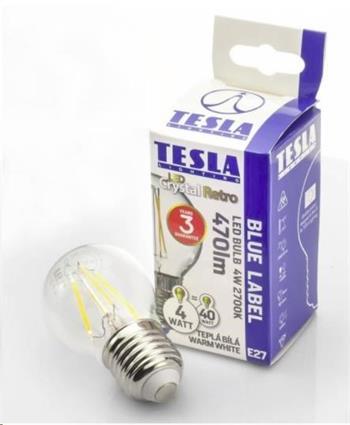 Tesla LED žárovka CRYSTAL RETRO miniglobe E27, 4W, 230V,470lm, 10 000h, 2700K teplá bílá, 360°
