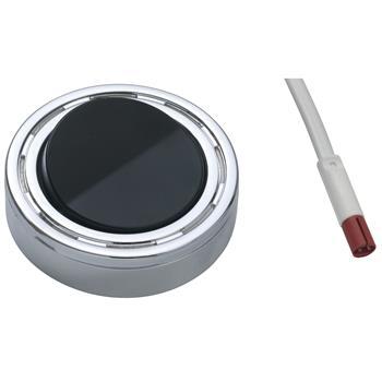 Vypínač 230 V na deku nebo k zapuštění, plast chrom., kolébka vypínače černá