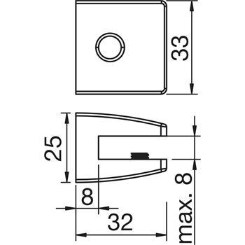 Upínací nosič skleněné police + LED osvětlení, ZETA 3S 1,2W