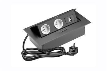 GTV vyklopná zásuvková lišta 2x zásuvka 2x USB černá