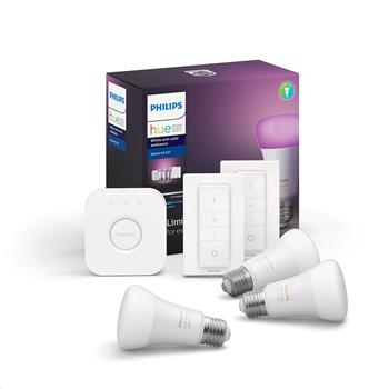 PHILIPS Hue Startovací KIT, White and Color Ambience( 3x žárovka 10W E27 A19 DIM + bridge + 2x Dimme