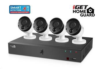 iGET HOMEGUARD HGDVK84404 Kamerový systém se SMART detekcí pohybu, 8-kanálový FullHD 1080p rekordér DVR + 4x HGPRO838