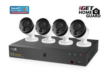 iGET HOMEGUARD HGNVK85304 Kamerový PoE systém se SMART detekcí pohybu, 8-kanálový FullHD NVR + 4x Fu