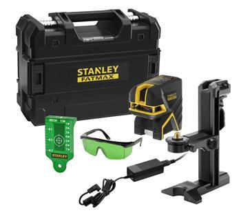 Stanley FatMax 2bodový a křížový laser, Li-Ion baterie, zelený paprsek