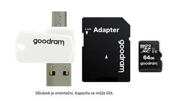 GOODRAM microSDHC karta 16GB M1A4 All-in-one (R:100/W:10 MB/s), UHS-I Class 10, U1 + Adapter + OTG card reader/čtečka