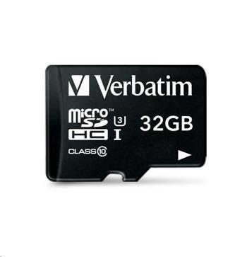 VERBATIM MicroSDHC karta 32GB Pro, U3 + adaptér