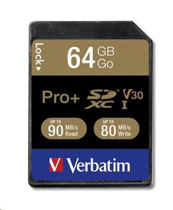 VERBATIM SDXC karta 64GB PRO+ Class 10, UHS-1 (R:90/W:80 MB/s)