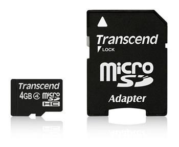 TRANSCEND MicroSDHC karta 4GB Class 4 + adaptér