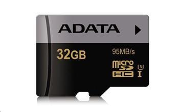 ADATA MicroSDHC karta 32GB Premier Pro UHS-I U3 (R:95MB) + SD adaptér