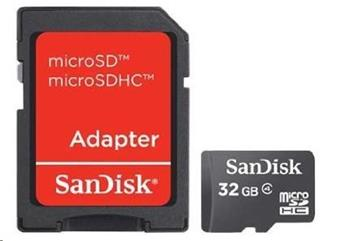 SanDisk MicroSDHC karta 32GB (Class 4) + adaptér