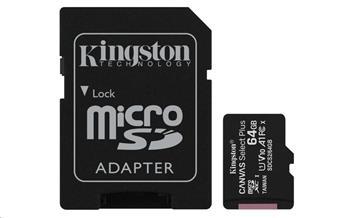 Kingston 64GB micSDXC Canvas Select Plus 100R A1 C10 Card + SD adaptér