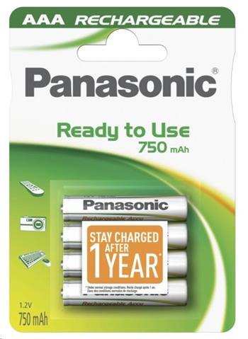PANASONIC Nabíjecí baterie (Ready to Use - pro Časté použití) HHR-4MVE/4BC 750mAh AAA 1,2V (Blistr 4