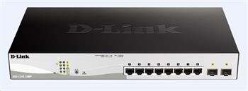 D-Link DGS-1210-10MP 10-port Gigabit Smart+ PoE Switch, 8x GbE PoE+, 2x SFP, PoE 130W, fanless