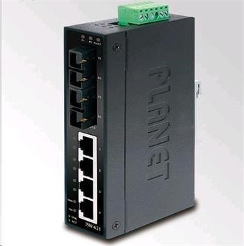 Planet switch ISW-621T, průmysl.verze 4x10/100+2x100BaseFX (SC) MM 2km, DIN, IP30, -40 až 70°C, 12-4