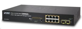 Planet GS-4210-8P2S PoE+ switch 8x 10/100/1000Base-T, 2x SFP, 802.3at do 120W, VLAN, SNMP/WEB