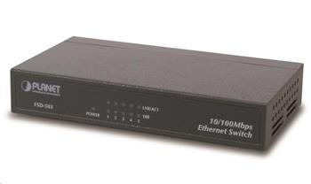 """Planet FSD-503 Switch, 5x 10/100Base-TX, 10"""", kov, fanless"""