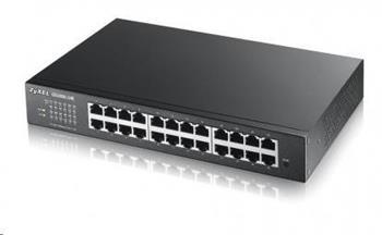 Zyxel GS1900-24E 24-port Desktop Gigabit Web Smart switch: 24x Gigabit metal, IPv6, 802.3az (Green), fanless, rack kit