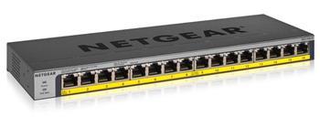 Netgear GS116LP 16-port Gigabit PoE+ Switch, 16x gigabit PoE port, PoE budget 76W, fanless
