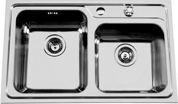 Sinks ALFA 800 DUO V 0,7mm pravý leštěný